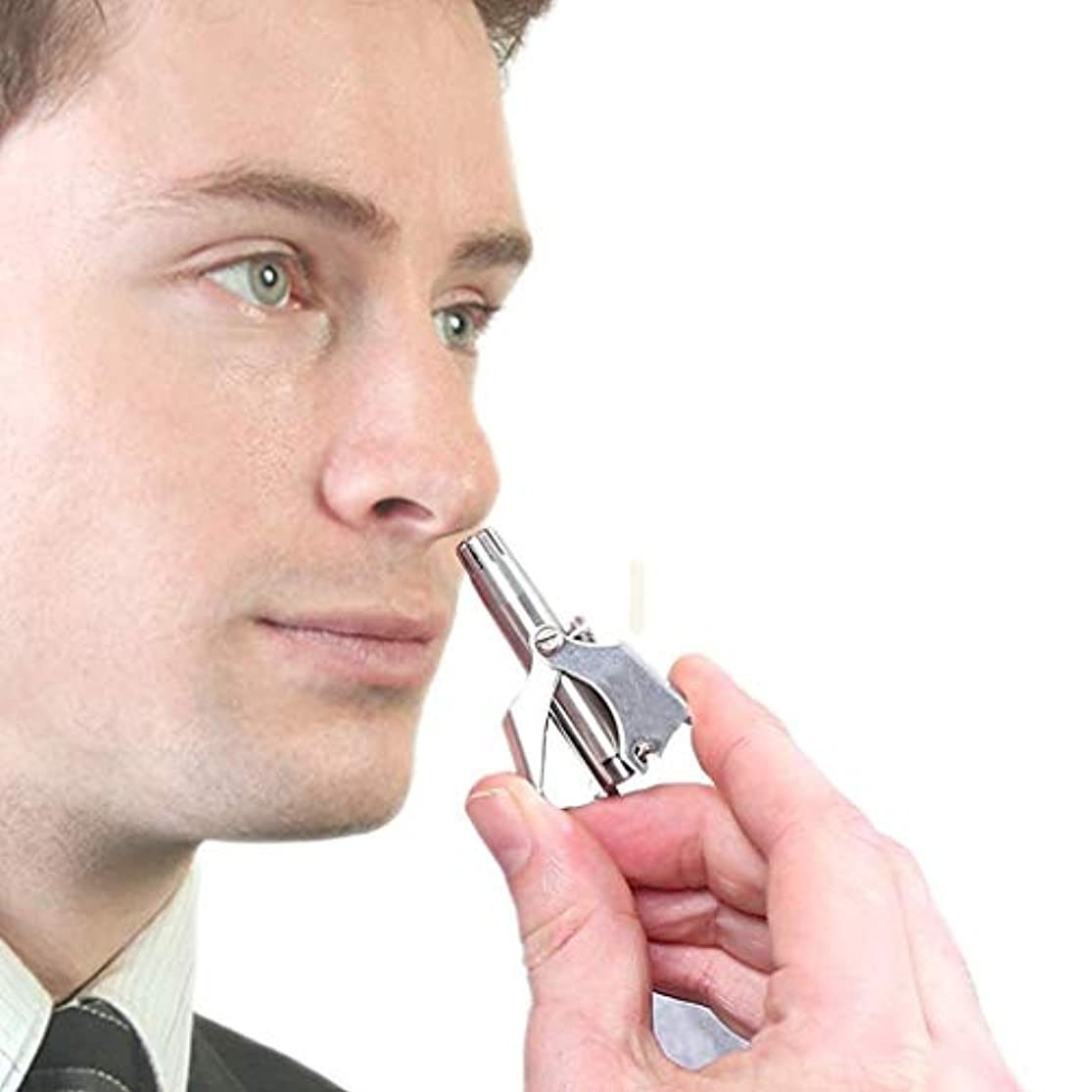 ショップ登録エンゲージメント男性&女性のためのポータブルマニュアル鼻&耳毛トリマー、パーフェクトマニュアルステンレス鋼の鼻毛リムーバー、必要ないいえ電池、簡単な清掃