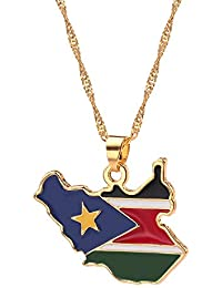 National Flag Pattern Map Pendant Necklace South Sudan Australian Metal Necklace Jewelry Gifts for Men Women