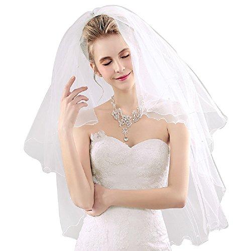 (FUMUD)ウエディング ミディアム ベール チュール ウェーブ 縁 花嫁 ベール ブライダルベール 2層ベール コーム付き オフホワイト