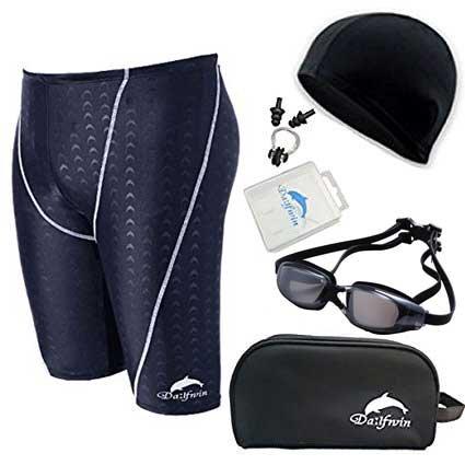 Dalfwin(ダールフィン)メンズスイミング5点セット 競泳水着 鮫肌リブレット フィットネス水着・水中ゴーグル・スイムキャップ・ノーズクリップ&耳栓・ポーチ (DFM-12Rブラック×ホワイト, XL)