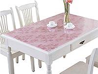 IVERNA テーブルクロス PVC製 テーブルマット デスクマット テーブルクロス 長方形 防水 撥水 耐久 汚れつきにくい (90*150, ピンク)