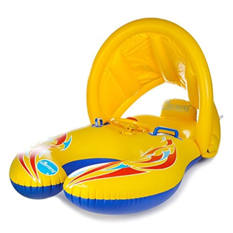 親子で浮かぶ二人乗り浮き輪  屋根付きハンドル付きタンデムボート