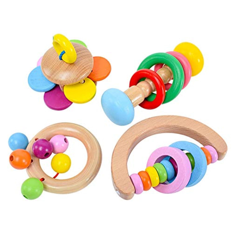 Mokylor 木製ベビーラトル 4個 オーガニック&BPAフリー 赤ちゃんのおしゃぶり 手作り カラフル クラッチ 握るおもちゃ 幼児用