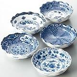 山勝美濃陶苑 食器セット 絵変り 波型 中鉢揃 5枚セット YAU-004AW