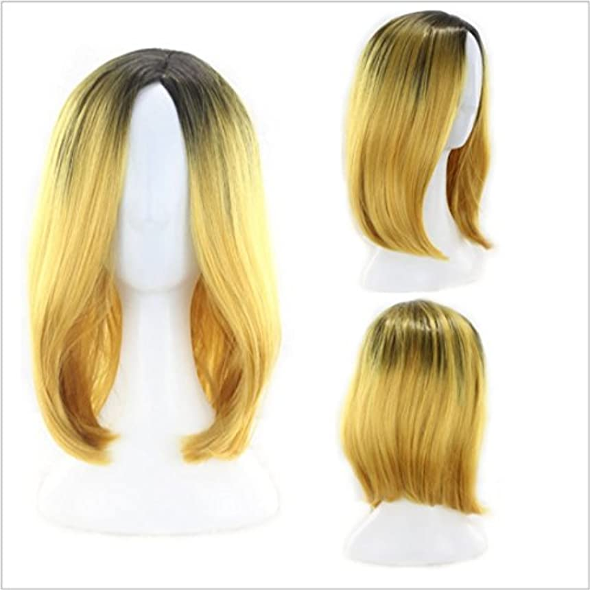 JIANFU 女性用ナチュラルグラデーションカラーウィッグミドルバンズ付きショートボボヘッドウィッグ髪用耐熱ウィッグ長さ35cm (Color : イエロー)