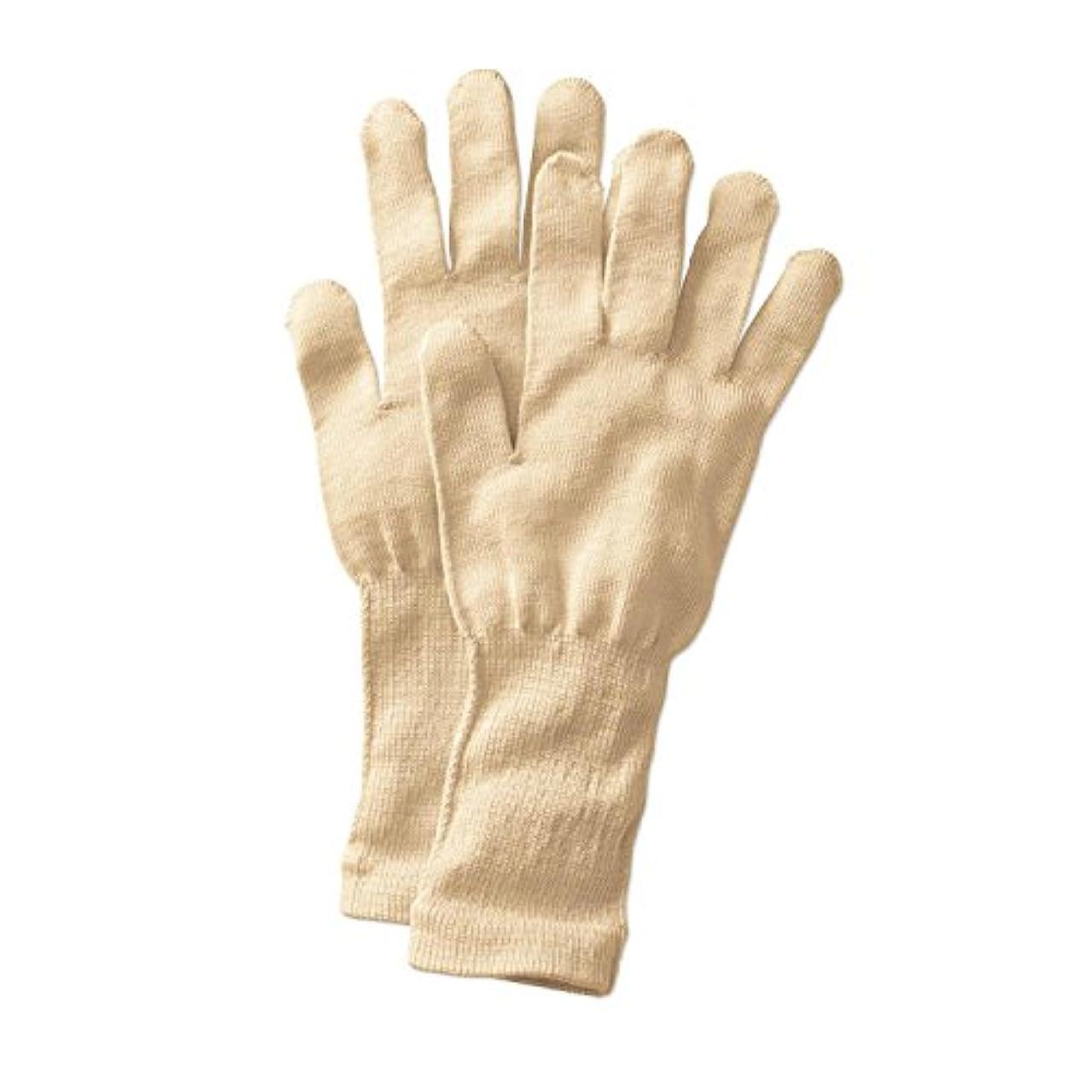 ストリップ幾分敵[ベルメゾン] 手袋 シルク 冷え取り おやすみ あったか /冷えとり日和365 クリーム