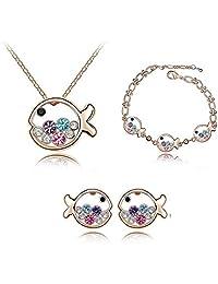 Swarovski Elements Crystal Jewelry Sets,Fish Princess Necklace,Bracelet,Earrings,JGG027
