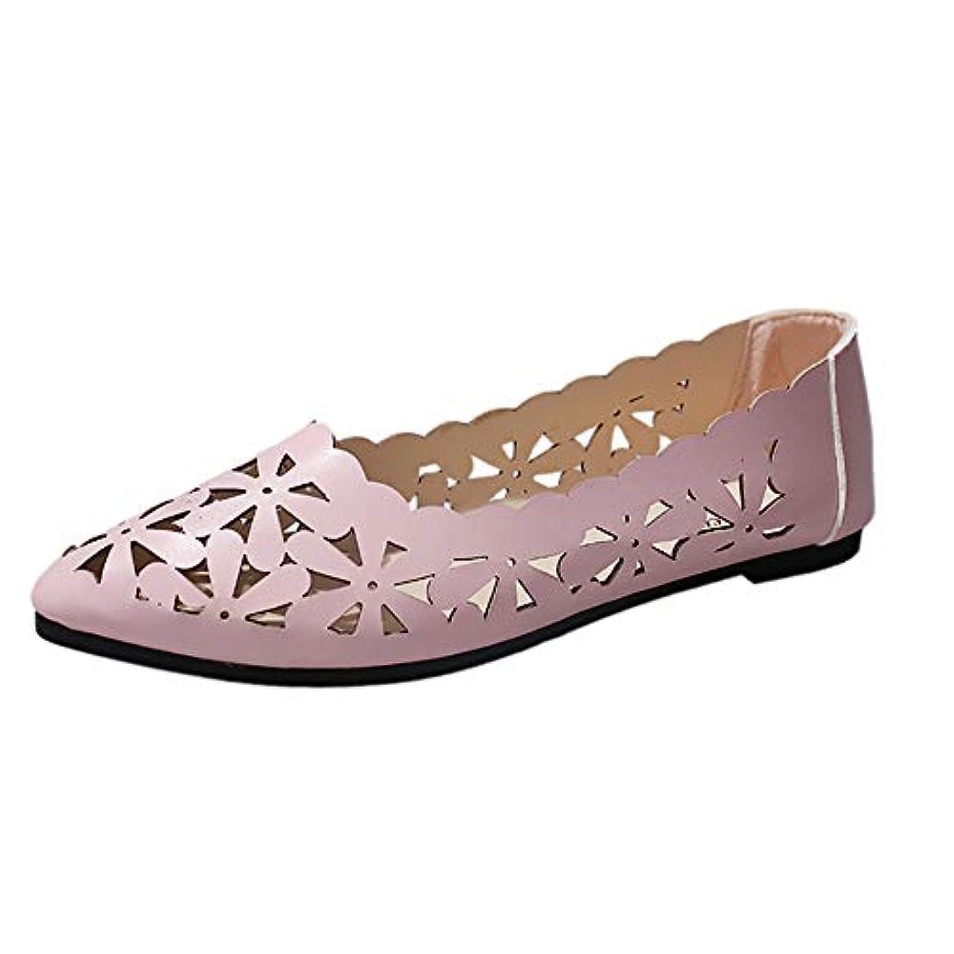 不完全セクタ書道レディース サンダル Tongdaxinxi 女性の浅いフラットヒール 花の形の裸の靴をくりぬきますつま先の靴 レディース パンプス ポインテッドトゥ ローヒール 本革 フラットシューズ 柔らかい 歩きやすい カジュアル