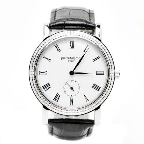 [ピエールタラモン]pierretalamon 腕時計 メンズ ウォッチ スモールセコンド ローマインデックス ブラックxシルバー PT-5100H-1 メンズ