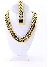 Bling Bling NY Solid 14k Yellow Gold Finish Stainless Steel 21mm Thick Miami Cuban Link Choker Chain Necklace & Bracelet Set 20 inches