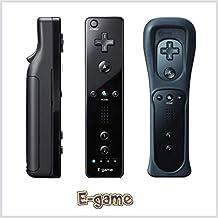 【E-game】 Wii リモコンコントローラ クロ WiiU Wii 対応 コントローラー (リモコンジャケット 同梱) クリーニングクロス & 日本語説明書 & 1年保証付き