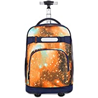 TONGSH New Antifouling Design 18 Inch Oversized Load Multi-Compartment Wheeled Rolling Backpack Luggage for Kids (Color : E)