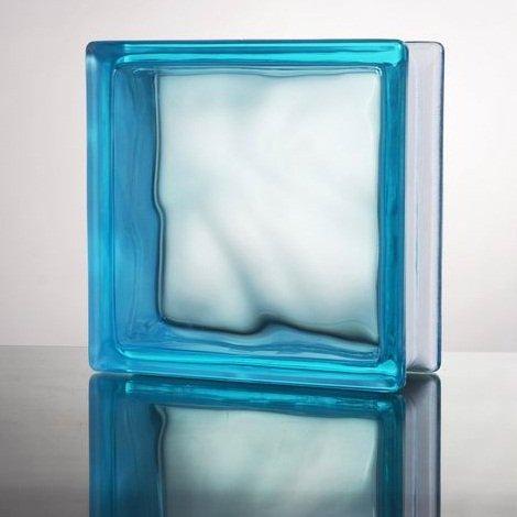 ガラスブロック (厚み80mm 宝石ブルー色雲) gb5380
