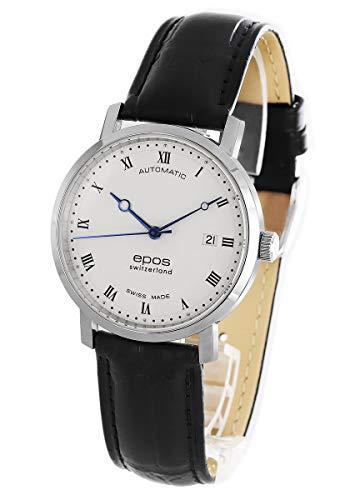 腕時計 ラウンド レザー ブラック/ホワイト 3387RSL メンズ エポス