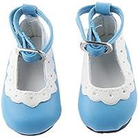 ノーブランド品 2足 1/4 BJD 人形の靴 シューズ ラウンド トウ フラット アンクル ストラップ 素晴らしい 装飾品 礼物 全8色選べ - ブルー