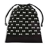 お着替えラクラク巾着(大サイズ)・体操服袋 リボンシルエット × 帆布・黒 日本製 N3351000