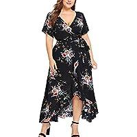 Promotions Fashion Women Off Shoulder Plus Size Lace Up Maxi Flowing Floral Print Dress