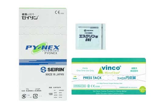 SEIRIN(セイリン) パイオネックス(線径0.20mmx鍼長0.9mm)100本入り + ファロス 円皮鍼(0.18mm×針長0.9mm)100本入り(SJ-525)+ エスクリンαONE x 2個 セット