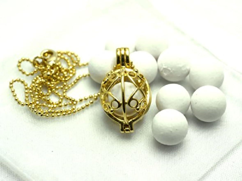 ファブリック真珠のような筋肉のアロマペンダント【蕾型】セラミックアロマボール10個付チェーン長さ約45cm