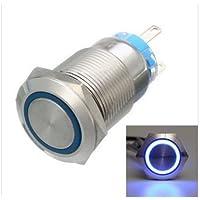Hitommy 12V 5ピン 19mm LEDライト ステンレススチール プッシュボタン モーメンタリースイッチ シルバー, ブルー 1181527A