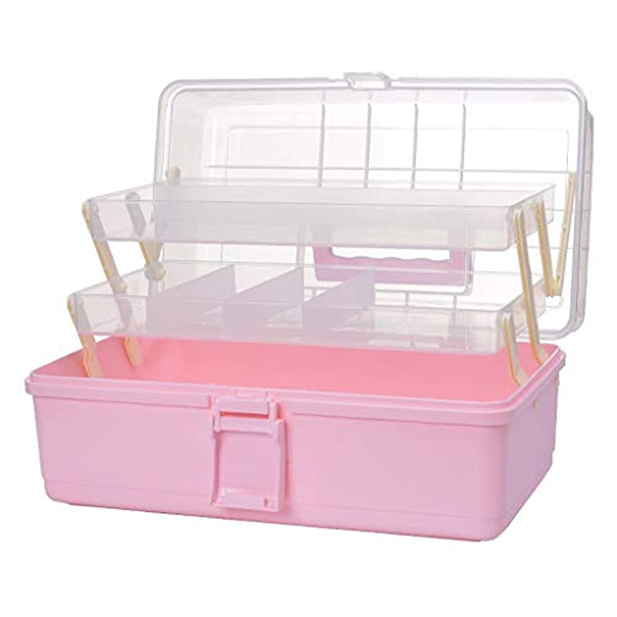 Yxsd 応急処置キット 応急処置収納ボックス医療ボックス、3層医療収納応急処置コンテナオーガナイザー家庭用、旅行、キャンプ、オフィスおよび職場 (Color : Pink)