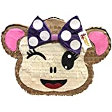 apinata4uガーリーMonkey Emoticon Pinata withパープルBow and winking eye