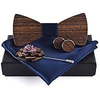 Demana Wooden Bow Tie Classic Handmade Adjustable Bowtie Handkerchiefs Cufflinks Brooch Set