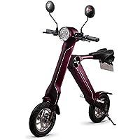 BLAZE 電動バイク 折りたたみ型 (ナンバー取得付き) ワインレッド SMART EV 車内積込み可能 12インチ 重量約18kg 脱着式バッテリー