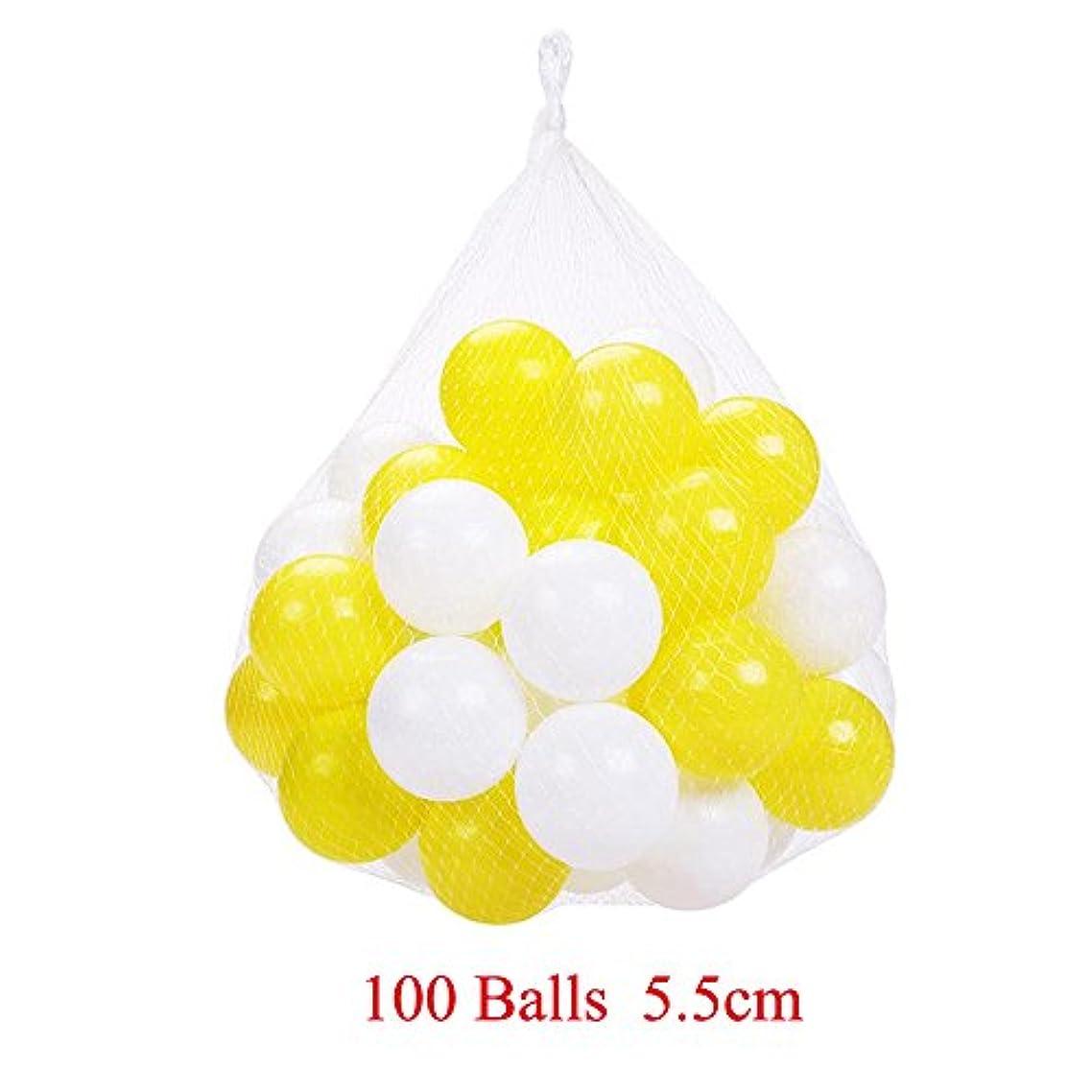 不合格ゆでる退屈させるパック100のplaymatyカラフルな海洋ボールプラスチックボールKids Swim Pit Funおもちゃホワイトとイエロー100ピースボールwithストレージバッグfor Baby Playhouseプール誕生日パーティー装飾 hyq007-5.5