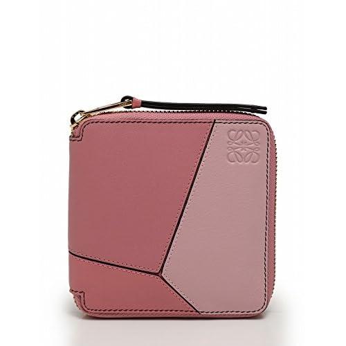 (ロエベ) LOEWE 財布 二つ折り ラウンドファスナー レザー ピンク Puzzle Small Wallet 中古