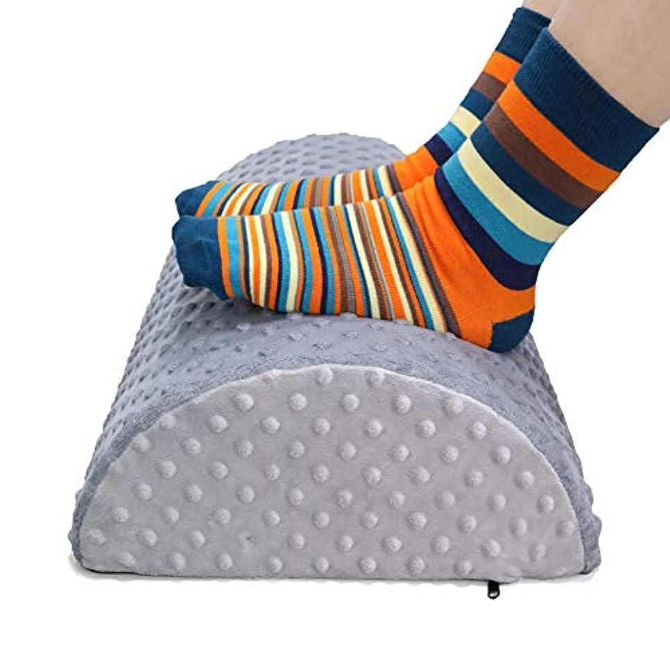 膨らみなにパワーデスククッションの下のフットレスト - 家庭用およびオフィス用のフットスツール - エルゴノミックハーフ - 腰椎、背中、膝の痛み、フットスツールロッカー用,Gray