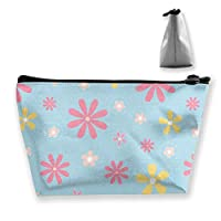 ピンクと黄色の花の女性化粧品バッグ多機能トイレタリーオーガナイザーバッグ、ジッパー付きハンドポータブルポーチトラベルウォッシュストレージ容量(台形)