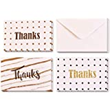 "Boxed Pack of 24 Thank You ""Thanks"" Greeting Cards with Envelopes, 3 Elegant and Attractive Designs, 8 Cards of Each Design, High Quality 15cm by 10cm Cards"