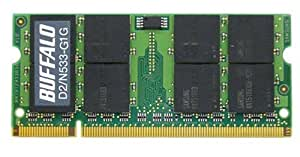 BUFFALO PCメモリ DDR2 533MHz SDRAM(PC2-4200) 200pin SO-DIMM 1GB D2/N533-G1G