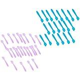 Perfeclan フェイシャル クリーム フェイスマスクスプーン 化粧品へら 約200個 全2選択 - 青+ピンク