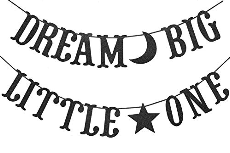 Dream Big Little One バナー ベビーシャワー 男の子 女の子 誕生日パーティー デコレーション サプライ バンティング 写真 ブース 小道具 サイン (ブラックグリッター)