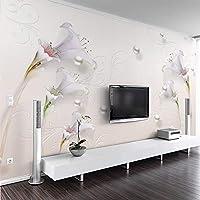 Bzbhart テレビの背景装飾画、壁用ステッカー写真の壁紙3Dステレオシンプルジュエリーユリ壁画リビングルームテレビの寝室の家の装飾防水壁紙用壁3D-120cmx100cm