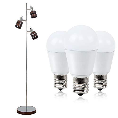 フロアライト 3灯 フロアスタンドライト LED電球付き E17 40W形相当 ミニクリプトン 小形電球タイプ 電球色 4W 450lm 密閉器具対応 断熱材施工器具対応 電気スタンド フロアランプ 間接照明 LEDフロア(GT-DJ-01B)(GT-B-4WW-E17-3)仕事 読書ランプ 室内ライト 組立式 led 照明灯 北欧 リビング 寝室用 フロアー ライト デスク インテリア スポットライト