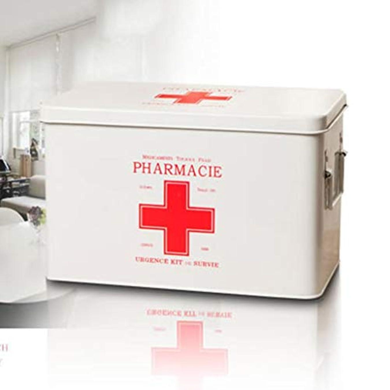 アームストロング抑制する高原2色で利用できる特大の多層治療の収納箱の金属の世帯の薬箱31.5 x 19 x 20.3 cm LXMSP (Color : White)