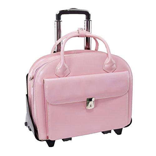 McKlien 94369 Glen Ellyn 94369- Pink Leather Detachable-Wheeled Women s Case