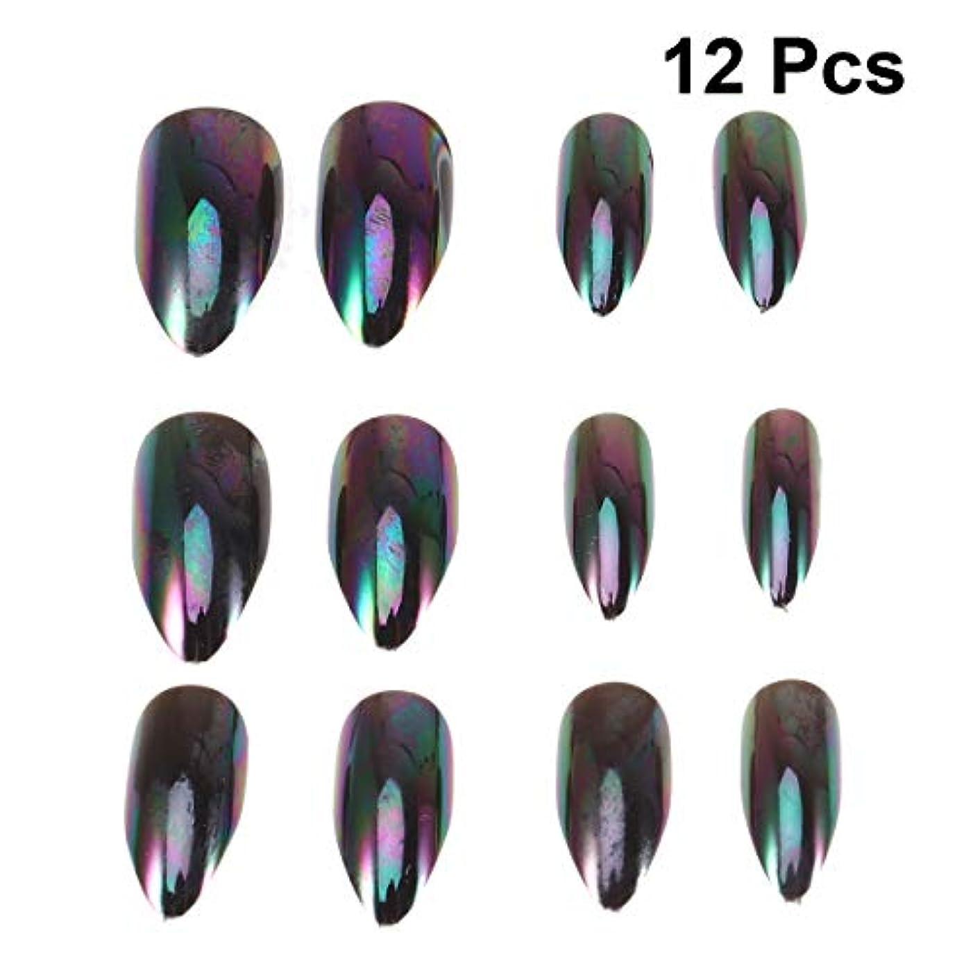 毒原理クラックLurrose 女性の女性のための12本の人工的な金属ミラー効果偽ネイルセットマジックミラー反射偽ネイル(番号5パターン)