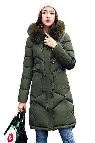 ダウンジャケット 中綿コート  レディース アウター 軽量 防風 防寒 トップス 秋冬 シンプル 女性用 フード付く 大きいサイズ(XXL,グリーン)