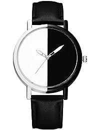 BEE&BLUE 腕時計 メンズ レディース 男女兼用 シンプル 黑と白 文字盤 ファッション ウォッチ G519 (ブラック)