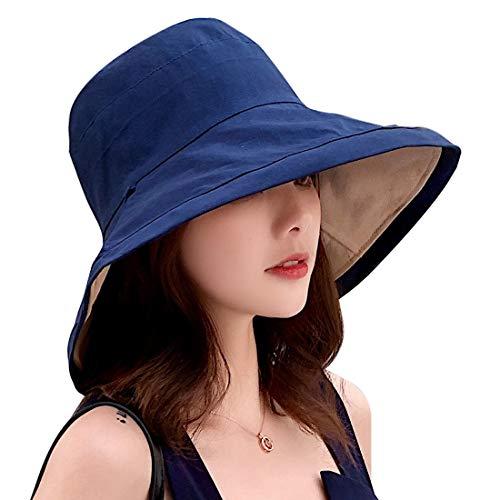 HIASU 帽子 レディース UVカット帽子 日よけ帽子 紫外線予防 熱中症予防 取り外すあご紐 つば広 おしゃれ 可愛い 小顔効果抜群 折りたたみ 【両面使用可能】 (ネイビー)