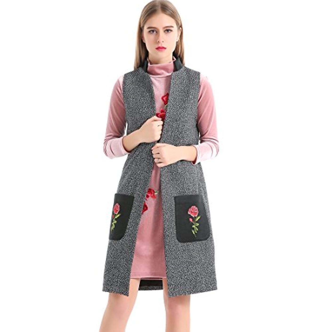 負担かび臭い兵器庫biovanレディースフロント開口部ロングノースリーブダウン加重ベスト花柄の刺繍スリムウエストコート