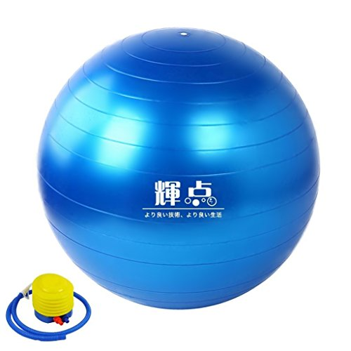ヨガボール 輝点 バランスボール エクササイズボール 直径65cm ポンプ付き! ダイエット アンチバースト 3色選択可能 (ブルー)