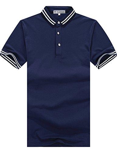 グラストア(Glestore)メンズ 半袖 ポロシャツ カジュアル ボーダー polo お洒落なポロシャツ スポーツウェア ゴルフウェア シンプル 無地 スキニー ファッション カッコイイ 快適 吸汗 大きいサイズ 紺L2