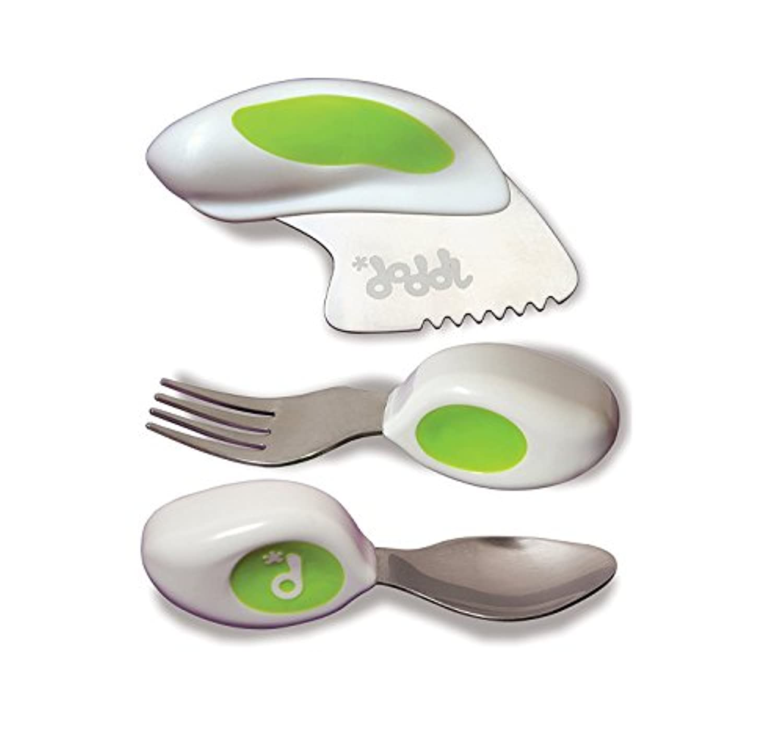 DODDL ドドル ベビー、幼児、子供用 スプーン、フォーク、ナイフセット | BPAフリー、欧州規格安全性テスト済み | 12ヶ月以上向け | 色: ライムグリーン