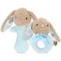 幼児期のゲーム ベビーラブリー手作り多機能動物BBスティック+ラトルセット(ブルーウサギ)
