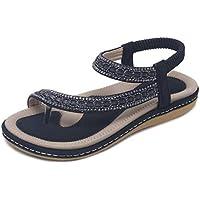 Inlefen Women's Rhinestone Beaded Bohemian Summer Shoes Beach Sandals